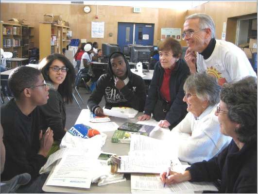 BCR's Mim Shapiro, Jim Lamm, June Walden and Irene Reingold talk with Culver City High School students about native plants.