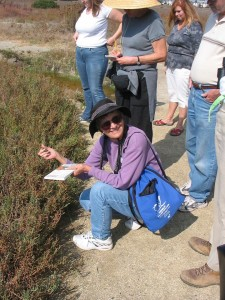 Wetlands docent June Walden describes native salt marsh plants on a group tour.